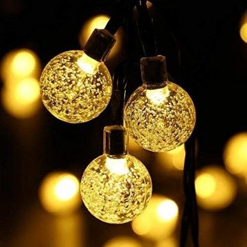 LED Solar Lichterkette Kristall Kugeln 4.5 Meter 30er Warmweiß, Mr.Twinklelight Außerlichterkette Deko für Garten, Bäume, Terrasse, Weihnachten, Hochzeiten, Partys, Innen und außen - 3