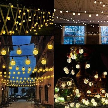 LED Solar Lichterkette Kristall Kugeln 4.5 Meter 30er Warmweiß, Mr.Twinklelight Außerlichterkette Deko für Garten, Bäume, Terrasse, Weihnachten, Hochzeiten, Partys, Innen und außen - 7