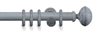 Liedeco Gardinenstange Vorhangstange Stilgarnitur Komplettgarnitur Terra Klingel | Holz | weiß, grau | 28 mm Ø (kalkgrau, 240 cm) -