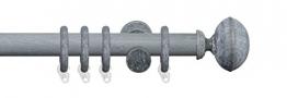 Liedeco Gardinenstange Vorhangstange Stilgarnitur Komplettgarnitur Terra Klingel | Holz | weiß, grau | 28 mm Ø (kalkgrau, 240 cm) - 1