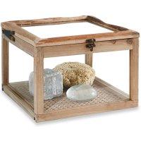 LOBERON Box Viane, antikbraun/klar (30 x 30 x 21cm)