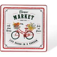 LOBERON Deko-Schild Flower Market, weiß/rot (35 x 35 x 1.5cm)