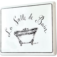 LOBERON Deko-Schild La salle de bain, weiß (1.5 x 35 x 26cm)