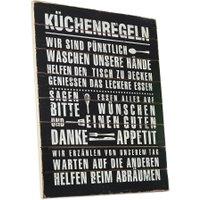 LOBERON Dekoboard Küchenregeln, antikschwarz (1 x 40 x 50cm)