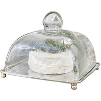 LOBERON Glasglocke mit Platte Henri, klar/silber (16.5 x 16.5 x 13cm)