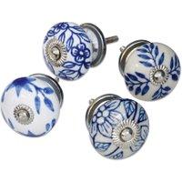 LOBERON Kommodengriffe 4er Set Porcelline, blau/weiß (5cm)