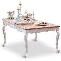 LOBERON Tisch Bellevue, braun/weiß (100 x 200 x 76cm)