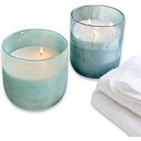LOBERON Windlicht mit Kerze 2er Set Gurvan, blau
