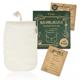 Lumaland Cuisine Nussmilchbeutel aus reinen Baumwollfasern für vegane Nussmilchherstellung inklusive Mandelmilch Rezept in nachhaltiger Verpackung Mandelmilch selber Machen Perfekter Milchersatz - 1