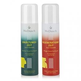 MeDusch bekannt als MediDusch 2er Set Aroma-Duschschaum Erkältungs+Regenerationszeit | Kräuterbad-Feeling in der Dusche | frei von Mikroplastik, Silikonen und Parfüm [150ml grün/weiß+150ml rot/weiß] - 1