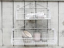 Metall Wandkorb, Aufbewahrungskorb von Chic Antique, Antik Weiß, 45 x 19 x 15 c - 1