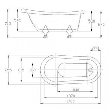 Möbelcreative Freistehende Design Badewanne Nostalgie inkl. Ab- und Überlauf rot chrom - 3