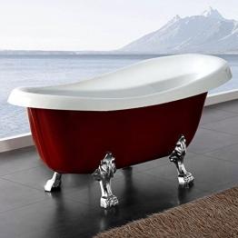 Möbelcreative Freistehende Design Badewanne Nostalgie inkl. Ab- und Überlauf rot chrom - 1