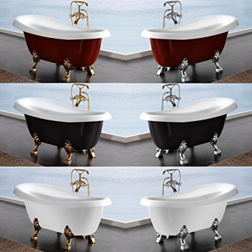Möbelcreative Freistehende Design Badewanne Nostalgie inkl. Ab- und Überlauf rot chrom - 8