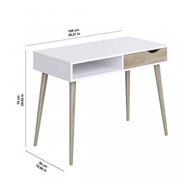 Movian Havel skandinavischer Stil  Schreibtisch mit einer Schublade, 50 x 100 x 75, Weiß - 5