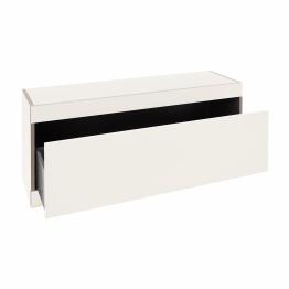 Müller Small Living - Flai Stauraumbank mit Schublade - weiß/ohne Sitzpolster/1.8cm CPL-Beschichtung/1 Schuhfach/BxHxT 118x48x35cm