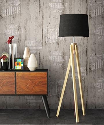 NEWROOM Landhaustapete Grau Papiertapete Schwarz Weiß Landhaus,Natur Holz schöne moderne und edle Design Optik , inklusive Tapezier Ratgeber - 2