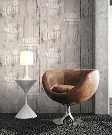 NEWROOM Landhaustapete Grau Papiertapete Schwarz Weiß Landhaus,Natur Holz schöne moderne und edle Design Optik , inklusive Tapezier Ratgeber - 3