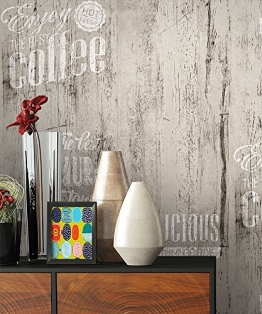 NEWROOM Landhaustapete Grau Papiertapete Schwarz Weiß Landhaus,Natur Holz schöne moderne und edle Design Optik , inklusive Tapezier Ratgeber - 1