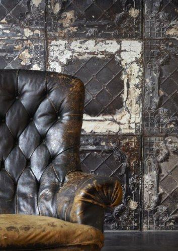 NLXL Tapete Brooklyn Tins, von Merci, 1Rolle 1000x48,7cm, Dunkelgrau/ Braun/ Weiß - 2