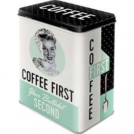 Nostalgic-Art 30146 Coffee First  | Vorratsdose L | Aufbewahrungs-Box | Kaffee-Dose | Blech-Dose | Metall - 1