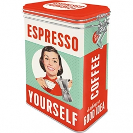 Nostalgic-Art 31104 Say it 50's - Espresso Yourself | Retro Aromadose| Blech-Dose | Kaffee-Dose | Aromadeckel | Metall - 1
