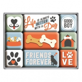 Nostalgic-Art 83100 PfotenSchild - Everthing is better, Magnet-Set (9teilig) - 1