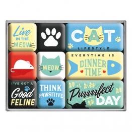 Nostalgic-Art 83109 - Cat Lifestyle , Retro Magnet-Set (9teilig) , Kühlschrank-Magnete , Vintage von Nostalgic-Art - 1