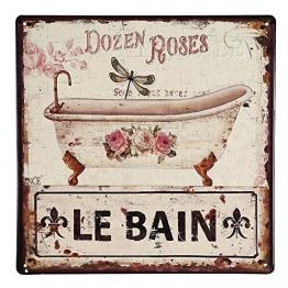 Nostalgie Blechschild, Badezimmer Schild mit Badewanne und Rosen 30x30 cm - 1