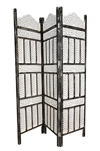 Orientalischer Paravent Raumteiler aus Holz Pratap 150 x 180cm hoch in Weiss   Indischer Trennwand als Raumtrenner oder Dekoration im Zimmer oder Sichtschutz im Garten, Terrasse oder Balkon - 2