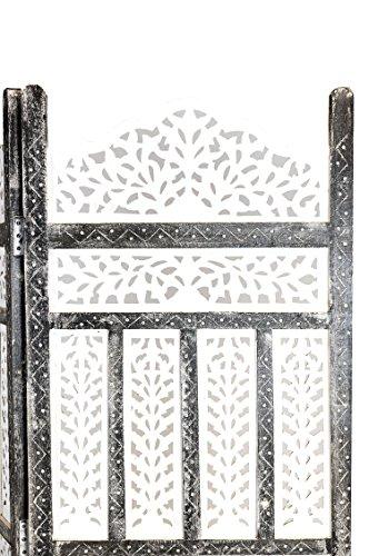 Orientalischer Paravent Raumteiler aus Holz Pratap 150 x 180cm hoch in Weiss   Indischer Trennwand als Raumtrenner oder Dekoration im Zimmer oder Sichtschutz im Garten, Terrasse oder Balkon - 3