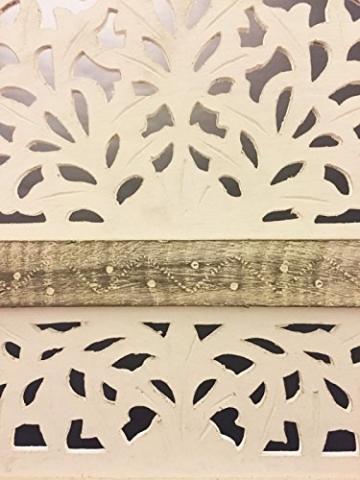 Orientalischer Paravent Raumteiler aus Holz Pratap 150 x 180cm hoch in Weiss   Indischer Trennwand als Raumtrenner oder Dekoration im Zimmer oder Sichtschutz im Garten, Terrasse oder Balkon - 4