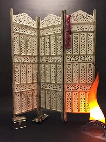Orientalischer Paravent Raumteiler aus Holz Pratap 150 x 180cm hoch in Weiss   Indischer Trennwand als Raumtrenner oder Dekoration im Zimmer oder Sichtschutz im Garten, Terrasse oder Balkon - 5