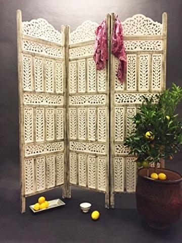 Orientalischer Paravent Raumteiler aus Holz Pratap 150 x 180cm hoch in Weiss   Indischer Trennwand als Raumtrenner oder Dekoration im Zimmer oder Sichtschutz im Garten, Terrasse oder Balkon - 6