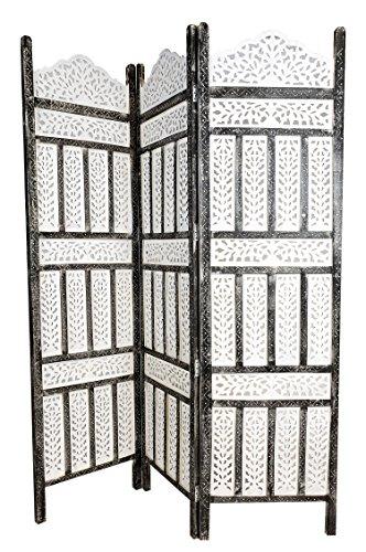 Orientalischer Paravent Raumteiler aus Holz Pratap 150 x 180cm hoch in Weiss   Indischer Trennwand als Raumtrenner oder Dekoration im Zimmer oder Sichtschutz im Garten, Terrasse oder Balkon - 1
