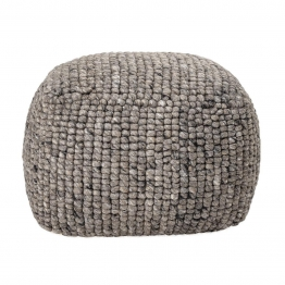 Pouf Boston in Grau aus Wolle in Strickoptik 73 x 54 x 73 cm