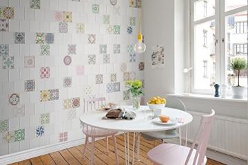 R12701-7 Vlies-Wandbild 270 x 315 cm Deco Fototapete Kacheln weiß und bunt Landhaus Steinoptik Digitaldruck - 2