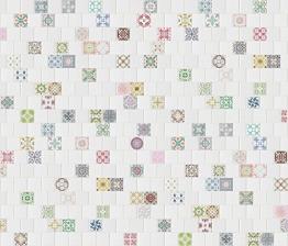 R12701-7 Vlies-Wandbild 270 x 315 cm Deco Fototapete Kacheln weiß und bunt Landhaus Steinoptik Digitaldruck - 1