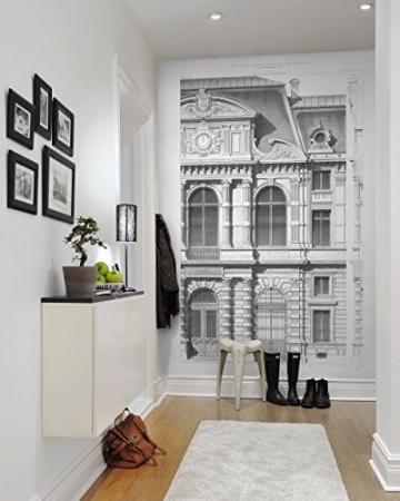 R12742-4 Vlies-Wandbild 270 x 180 cm Deco Fototapete Architekturzeichnung klassische Fassade schwarzweiß Digitaldruck - 2