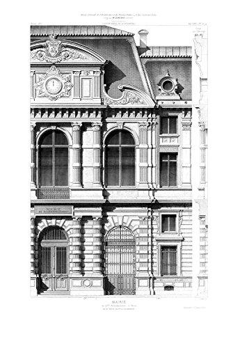 R12742-4 Vlies-Wandbild 270 x 180 cm Deco Fototapete Architekturzeichnung klassische Fassade schwarzweiß Digitaldruck - 1