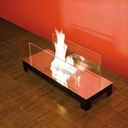 Radius - Floor Flame Kaminfeuer - edelstahl, transparent/Edelstahl/LxBxH 78x30x31cm