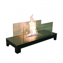 Radius - Floor Flame Kaminfeuer - schwarz, transparent/Edelstahl schwarz/LxBxH 78x30x31cm