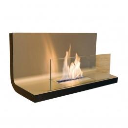 Radius - Wall Flame 1 Kaminfeuer / Wandkamin - transparent, edelstahl/Edelstahl/LxBxH 80x35x40cm/1,7 l Brennkammer
