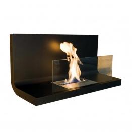 Radius - Wall Flame 1 Kaminfeuer / Wandkamin - transparent, schwarz/Edelstahl schwarz/LxBxH 80x35x40cm/1,7 l Brennkammer