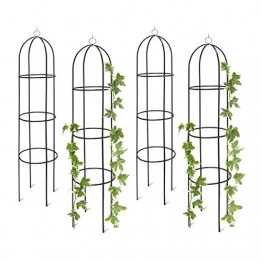 Relaxdays 4X Rankobelisk, Rankhilfe freistehend, dekoratives Rankgestell für Garten, Rankturm, Metall, grün, HBT: 190 x 40 x 40 cm - 1