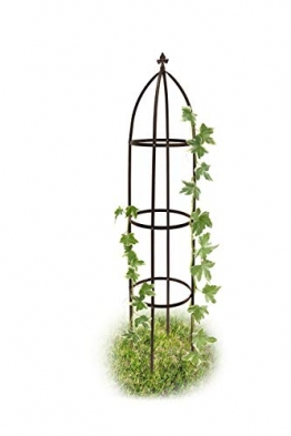 Relaxdays Rankhilfe Obelisk Metall 190 cm, Ranksäule witterungsbeständig freistehend f. Kletterpflanzen u. Rosen, braun - 1