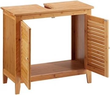 Relaxdays Waschbeckenunterschrank LAMELL aus Bambus H x B x T: ca. 60 x 67 x 30cm Unterschrank fürs Waschbecken oder den Waschtisch Waschtischunterschrank aus Holz mit 2 Türen in Lamellen-Optik, natur - 3