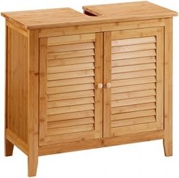 Relaxdays Waschbeckenunterschrank LAMELL aus Bambus H x B x T: ca. 60 x 67 x 30cm Unterschrank fürs Waschbecken oder den Waschtisch Waschtischunterschrank aus Holz mit 2 Türen in Lamellen-Optik, natur - 1