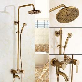 Retro Duschset, Antik Messing Duschsystem, Wasserhahn Messing Antik Mit Höhenverstellbar Umfassen Handbrause, Duschkopf und Dusche Armatur - 1