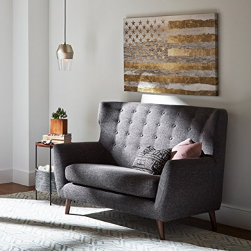 Rivet Hawthorne Modernes, getuftetes Zweisitzer-Sofa im Stil der 1950er Jahre, B 145cm, Kaviar - 3